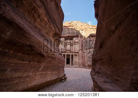View from Siq on entrance of City of Petra, Jordan