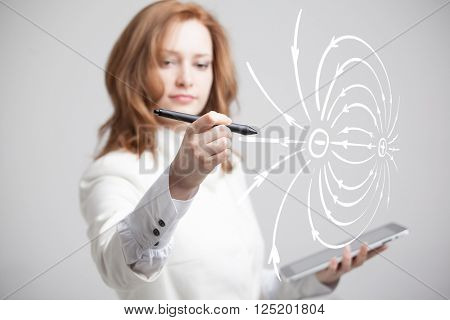 Young woman, physics teacher draws a diagram of the electric field