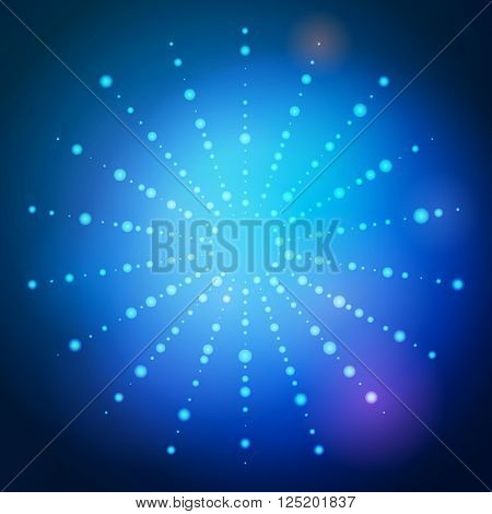 Vector dot blue modern background. Abstract shape pattern. Technology background for web and print design. Random circle shapes. Big and small white points. Illustration with dots ray.
