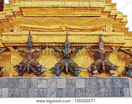 Guardian of Wat Pra Kaew Grand Palace Bangkok Thailand.