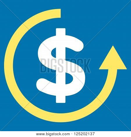 Refund vector icon. Refund icon symbol. Refund icon image. Refund icon picture. Refund pictogram. Flat yellow and white refund icon. Isolated refund icon graphic. Refund icon illustration.