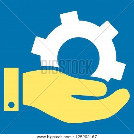 Service vector icon. Service icon symbol. Service icon image. Service icon picture. Service pictogram. Flat yellow and white service icon. Isolated service icon graphic. Service icon illustration.