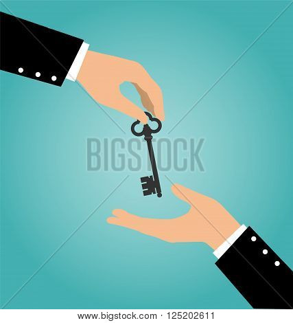 Business Hand Giving A House Key To Another Hand