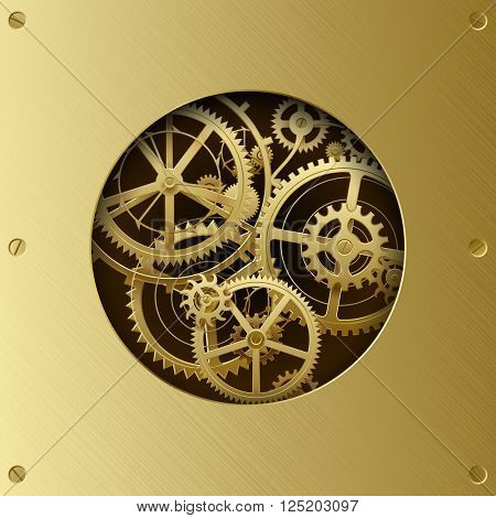 Metallic gear wheels in the brass plate with cut round hole. Circle with gears. Techno background