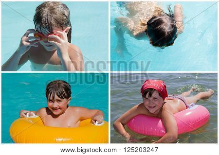set of photos little girl bathes in the inflatable ring and glasses for diving is swimming underwater