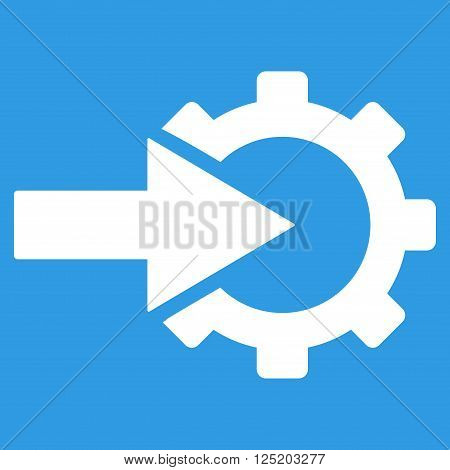 Cog Integration vector icon. Cog Integration icon symbol. Cog Integration icon image. Cog Integration icon picture. Cog Integration pictogram. Flat white cog integration icon.