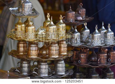 Set of Turkish coffee cups in Turkish Bazaar