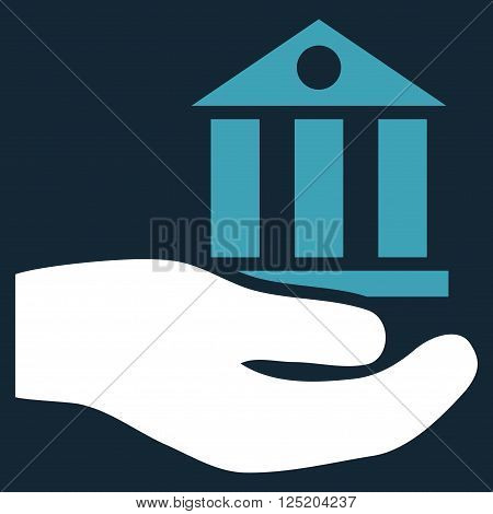 Bank Service vector icon. Bank Service icon symbol. Bank Service icon image. Bank Service icon picture. Bank Service pictogram. Flat blue and white bank service icon.
