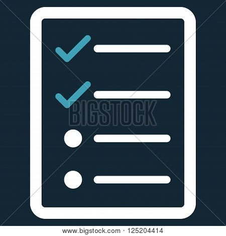 Checklist Page vector icon. Checklist Page icon symbol. Checklist Page icon image. Checklist Page icon picture. Checklist Page pictogram. Flat blue and white checklist page icon.