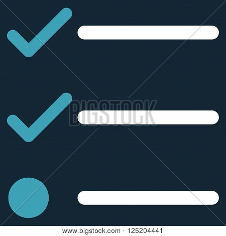 Checklist vector icon. Checklist icon symbol. Checklist icon image. Checklist icon picture. Checklist pictogram. Flat blue and white checklist icon. Isolated checklist icon graphic.