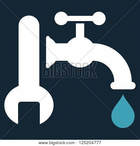 Plumbing vector icon. Plumbing icon symbol. Plumbing icon image. Plumbing icon picture. Plumbing pictogram. Flat blue and white plumbing icon. Isolated plumbing icon graphic.