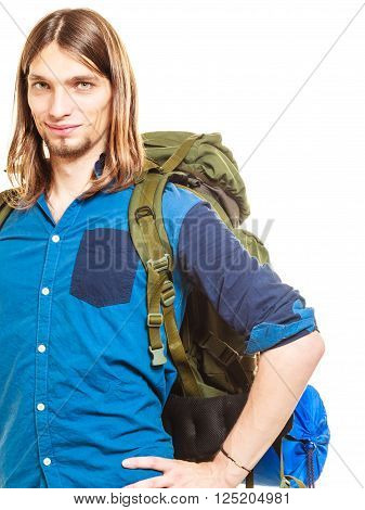 Portrait of man tourist backpacker on trip. Young guy hiker backpacking. Summer vacation travel. Isolated on white background.