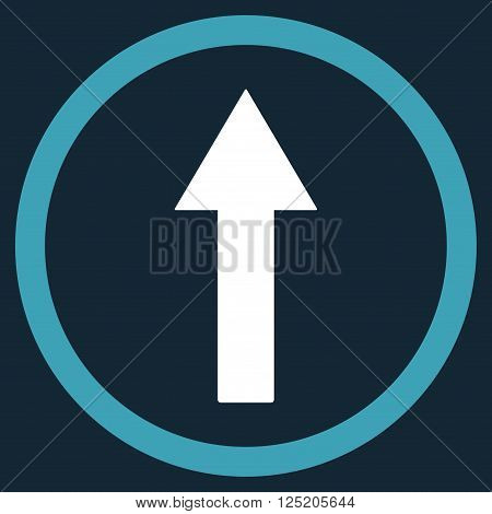 Up Rounded Arrow vector icon. Up Rounded Arrow icon symbol. Up Rounded Arrow icon image. Up Rounded Arrow icon picture. Up Rounded Arrow pictogram. Flat blue and white up rounded arrow icon.