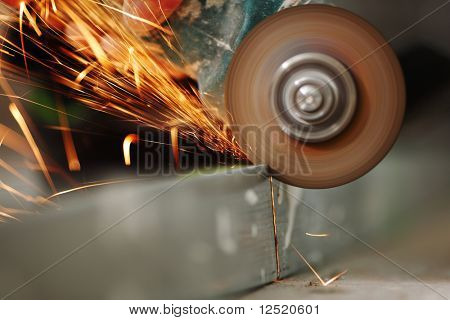 metal sawing close up