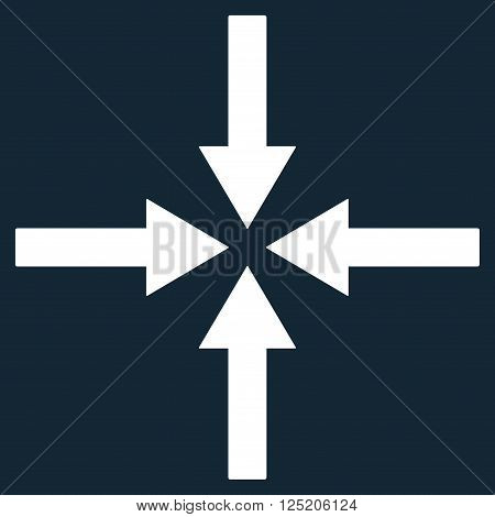 Impact Arrows vector icon. Impact Arrows icon symbol. Impact Arrows icon image. Impact Arrows icon picture. Impact Arrows pictogram. Flat white impact arrows icon. Isolated impact arrows icon graphic.