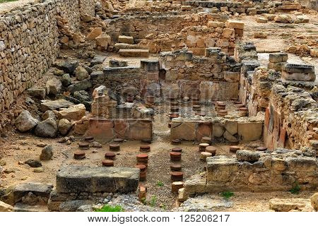 Ruins and columns of the ancient city of Paphos, Cyprus
