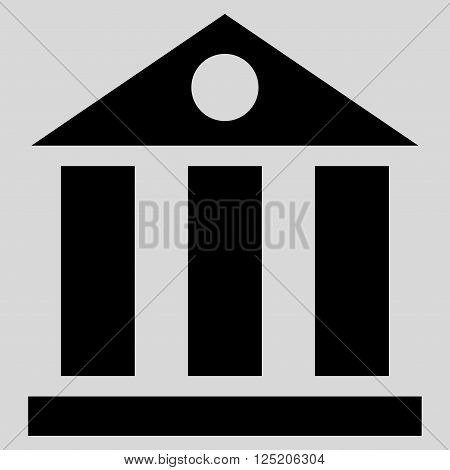 Bank Building vector icon. Bank Building icon symbol. Bank Building icon image. Bank Building icon picture. Bank Building pictogram. Flat black bank building icon. Isolated bank building icon graphic.