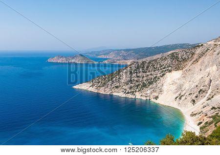 Panoramic view of cliff coast on Kefalonia island Greece