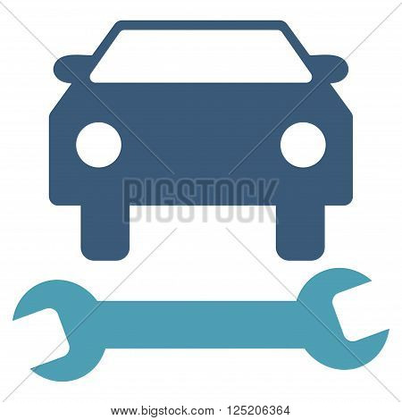 Car Repair vector icon. Car Repair icon symbol. Car Repair icon image. Car Repair icon picture. Car Repair pictogram. Flat cyan and blue car repair icon. Isolated car repair icon graphic.