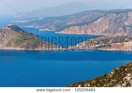 View of Assos village on Kefalonia island Greece