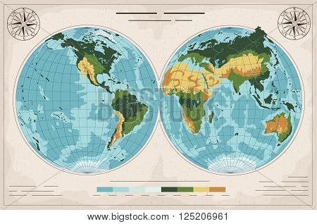 Amazing ancient geographic map.Flat design. Vector illustration.