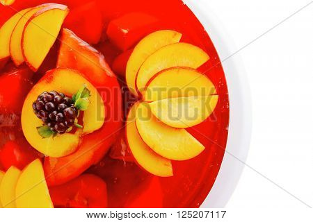 sweet cold red jelly pie with peach and nectarine