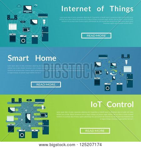 Set of flat vector web banners on the theme of  Internet of Thigs, Smart home. Modern flat design