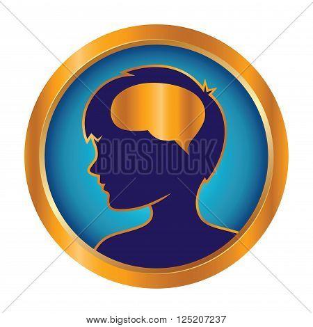 Vector stock of children brain development in golden ring icon