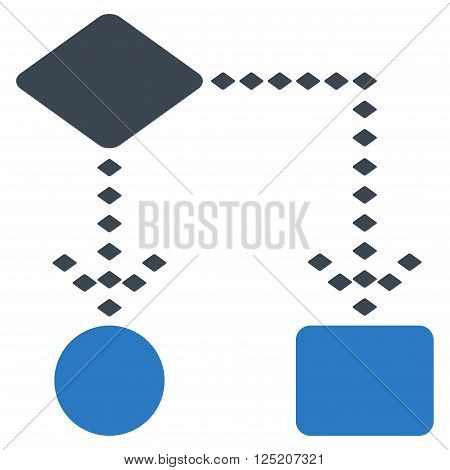 Algorithm Scheme vector toolbar icon. Style is bicolor flat icon symbol, smooth blue colors, white background, rhombus dots.