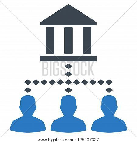 Bank Building Client Links vector toolbar icon. Style is bicolor flat icon symbol, smooth blue colors, white background, rhombus dots.