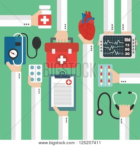Modern medical heart therapy flat design.Vector illustration