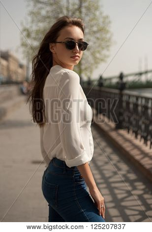 Young Fashionable Brunette Woman Having Fun In The City.