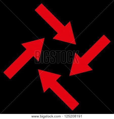 Centripetal Arrows vector icon. Centripetal Arrows icon symbol. Centripetal Arrows icon image. Centripetal Arrows icon picture. Centripetal Arrows pictogram. Flat red centripetal arrows icon.