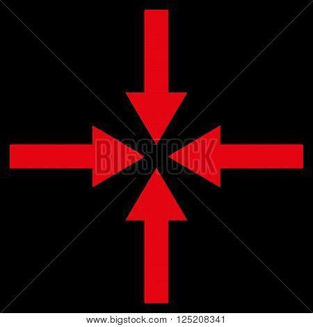 Impact Arrows vector icon. Impact Arrows icon symbol. Impact Arrows icon image. Impact Arrows icon picture. Impact Arrows pictogram. Flat red impact arrows icon. Isolated impact arrows icon graphic.