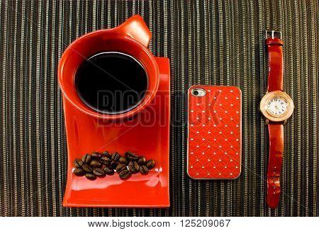Coffee Break In Red Colors