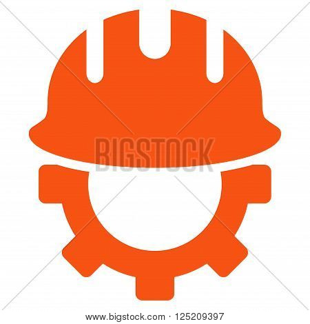 Development Hardhat vector icon. Development Hardhat icon symbol. Development Hardhat icon image. Development Hardhat icon picture. Development Hardhat pictogram. Flat orange development hardhat icon.