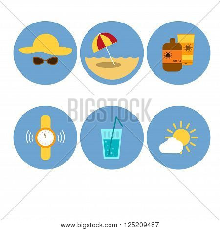 Sun protection icons set. Flat design. Protection from sunlight. Skin Protection and Healthcare in Summer. Sun protection method. Vector illustration