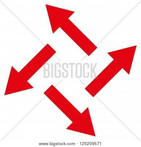 Centrifugal Arrows vector icon. Centrifugal Arrows icon symbol. Centrifugal Arrows icon image. Centrifugal Arrows icon picture. Centrifugal Arrows pictogram. Flat red centrifugal arrows icon.