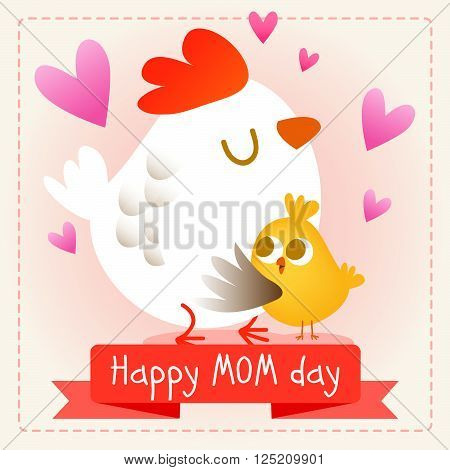 Happy mother's day. Vector illustration. Baby and mother together illustration. Cute animals. Chicken.