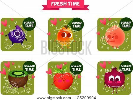 A set of cute fruit. Illustration with funny characters.  Funny food. 100% RAW. Summer time. Fresh meal. Icons fruit. Hello summer