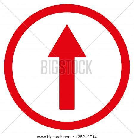Up Rounded Arrow vector icon. Up Rounded Arrow icon symbol. Up Rounded Arrow icon image. Up Rounded Arrow icon picture. Up Rounded Arrow pictogram. Flat red up rounded arrow icon.