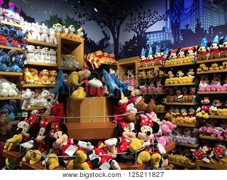 NEW YORK, NY - APR 30: The Disney store in Times Square, New York, as seen on April 30, 2016. Disney Store is an international chain of specialty stores selling only Disney related items, many of them exclusive.