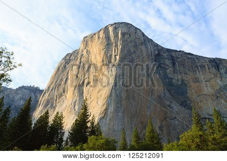El Capitan rock from Yosemite National Park, California USA. Geological formations.