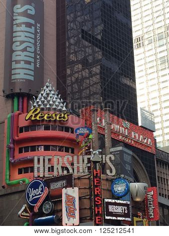 NEW YORK, NY - APR 30: Hershey's Chocolate World at Times Square in New York, as seen on April 30, 2016. Times Square is sometimes referred to as The Crossroads of the World.