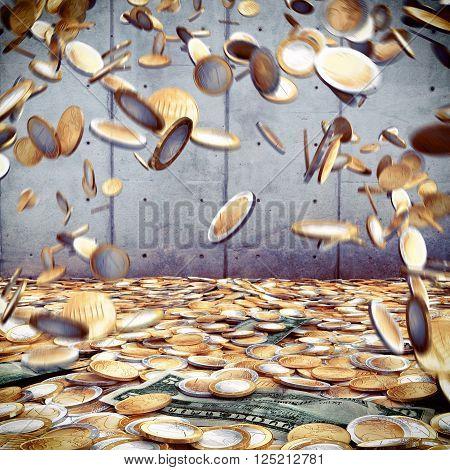 Rain of bills coins euro and dollar