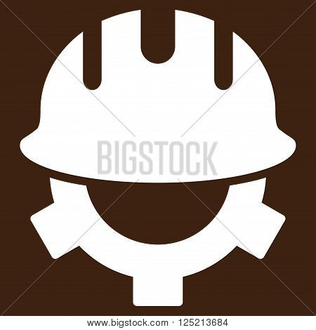 Development Helmet vector icon. Development Helmet icon symbol. Development Helmet icon image. Development Helmet icon picture. Development Helmet pictogram. Flat white development helmet icon.