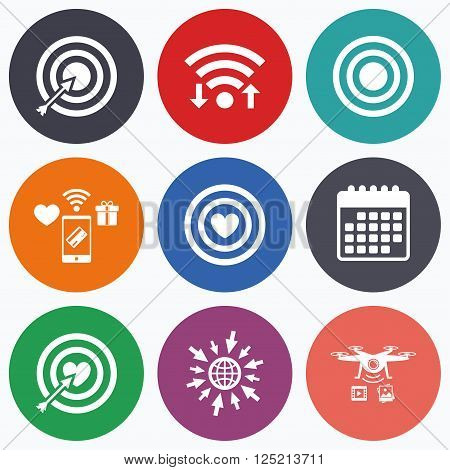 Wifi, mobile payments and drones icons. Target aim icons. Darts board with heart and arrow signs symbols. Calendar symbol.
