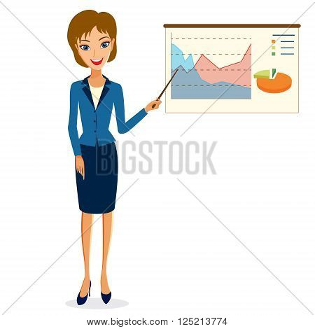 Business woman character vector. Cheerful smiling business woman character making presentation. Woman business character isolated on white background