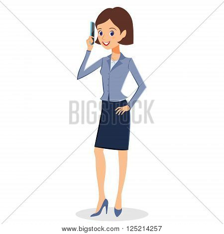 Business woman character vector. Cheerful smiling business woman character with smart phone. Woman business character isolated on white background