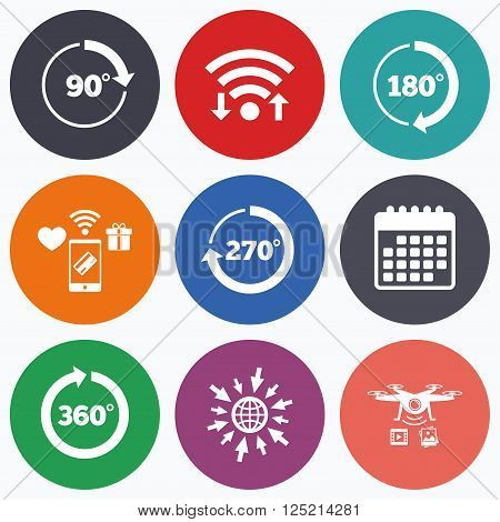 Wifi, mobile payments and drones icons. Angle 45-360 degrees circle icons. Geometry math signs symbols. Full complete rotation arrow. Calendar symbol.